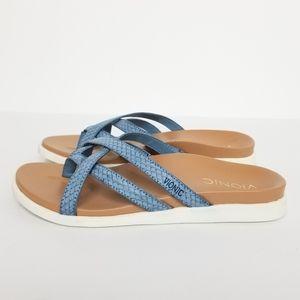 Vionic Blue Daisy Strappy Slide Sandals